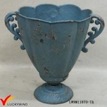 Ferro fundido azul rústico francês pedestal antigo plantadores e urnas