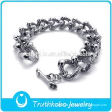 TKB-JB0106 Fashionable hot sell punk silver skull men's chain bracelets & bangles in 316L stainless steel material