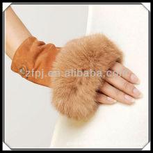 CCTV advertised rabbit fur fingerless suede glove