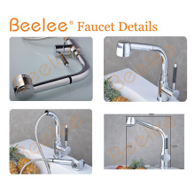 Brass Chromed Big Spray with Head Button Pull out Kitchen Sink Faucet
