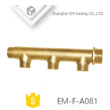 EM-F-A081 conexión de tubería de unión de latón Rosca macho 3 vías colector de agua