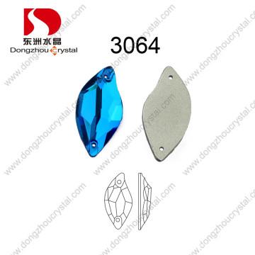 Chine en gros dos plat coudre sur la pierre à facettes en cristal pour accessoire de vêtement