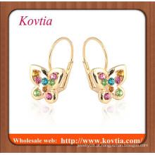 Mais novo moda rosa banhado a ouro borboleta brinco meninas pequenas imagem liberada