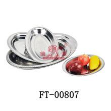 Acier inoxydable ovale profond servant de plaque (FT-00807)