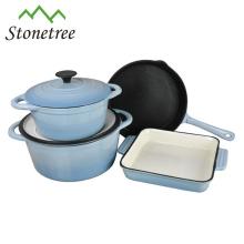 4pcs Enamel Color Cast Iron Cookware