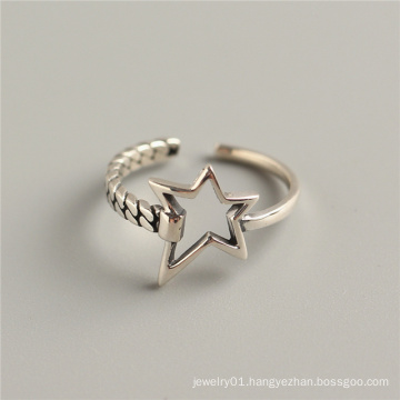 Retro Gothic Accessories S925 Sterling Silver Opening Interlocking Hollow Beating Star Rings
