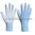 Gants de travail en Nylon bleu avec PU paume enduite (PN8004B)