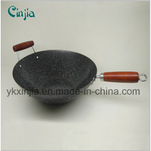 34cm Colorful Wooden Handle Non- Stick Wok Kitchenware