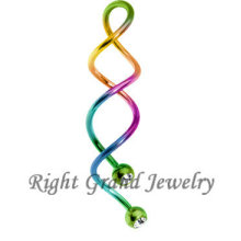 Rainbow PVD Anodized Crystal Spiral Navel Piercing Jewelry