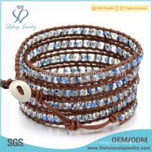 New arrival bohemian leather bracelets,leather beaded wrap bracelet