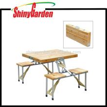 Tabla de picnic que acampa plegable portátil de madera del jardín al aire libre con 4 asientos