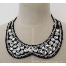 Alta qualidade rodada cristal chunky bib gargantilha colar colar (je0032)