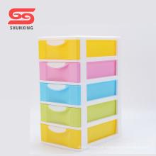 Gavetas empilháveis de armazenamento de plástico de caixa de 5 camadas de escritório