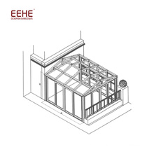 Sunrooms de toit en verre modernes avec porte de sécurité rabattable