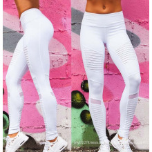 Factory OEM Custom Pleated White Fitness Women Yoga Leggings Sports Pants with Mesh