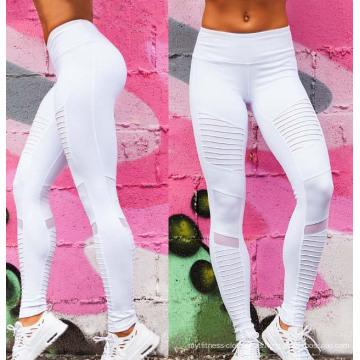 Pantalones deportivos plisados personalizados de encargo de la polainas de la yoga de las mujeres de la aptitud del OEM de la fábrica con la malla