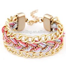 Loja on-line china por atacado artesanal tecido pulseira pulseira de ouro cadeia
