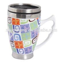 2015 new product double wall plain white ceramic mug coffee mug with handle and lid