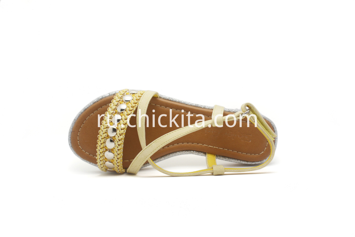 Children flat shoes Cross straps fahion sandals with Rhinestone Decorated