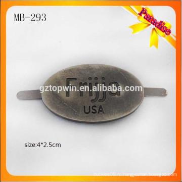 MB293 Изготовленный на заказ античный латунный ярлык логоса тавра металла с prong для сумки повелительницы