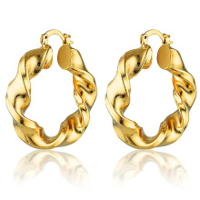 Custom Spiral 18k Gold Plated Earrings Gold And Silver Jewelry Stainless Steel Jewelry Twisted Hoop Earrings For Ladies