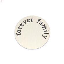 Top verkauf edelstahl silber für immer brief familie schwimm medaillon platten schmuck