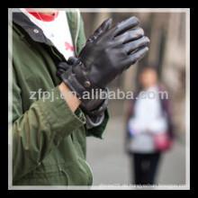 2013 neuer design man schwarzer leder agraffe, der handschuh fährt