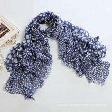 Blue Ground Blanco DOT Big Size Polyester Voile Bufanda Larga PP058cl