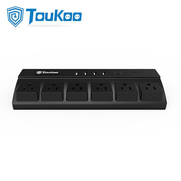 6 Gang Power Strip 4 Puertos USB