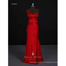 Festliche Abendkleid Abend Abendkleid Frauen Partei Kleid lange Kittel in roter Farbe