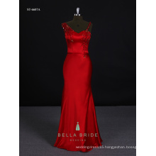Formal night gown evening prom dress women party dress long frocks in red color