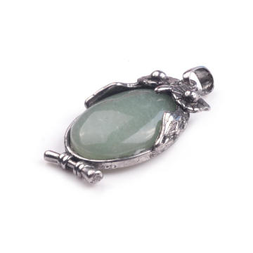European Fashion Green Aventurine 18X25MM Cabochon Alloy Owl Pendant Necklace