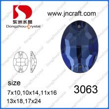 Pierre de verre ovale dos plat avec deux trous (DZ-3063)