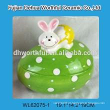 Cutely frasco de armazenamento de cerâmica com estatueta de coelho