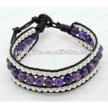Amitié Amethyst Round Beads Wrap Bracelets