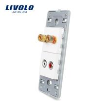 Livolo Sound / Acoustics and Audio Fiches 3.5mm Sans Prise de Verre Cristal Perle Blanche VL-C5-1AAD-11