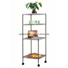 DIY Chrome Steel Triangle Corner Wire Rack for Living Room