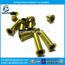 En existencia Acero al carbono DIN 7340 de alta calidad Remaches tubulares hechos de tubo con zinc galvanizado