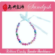 Beautiful Handmade Christmas Ribbon Lace Colored Beads Babies Necklace