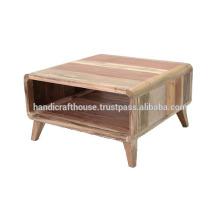 Mesa de centro de almacenamiento de madera natural sólida pequeña