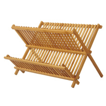 Foldable Bamboo Dish Draining Rack in 2-Tier