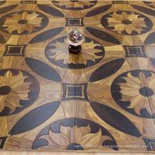 Suelo de parqué de madera de la nuez del patrón de flor noble en venta