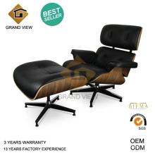 Cuir noir foncé noyer bois classique Eames Lounge Chair (GV-EA670)