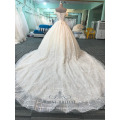 Sexy off the shoulder women champagne lace wedding dress 2017