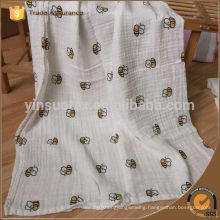 Best Quality Baby Muslin Swaddle Blanket With Custom Bee Design