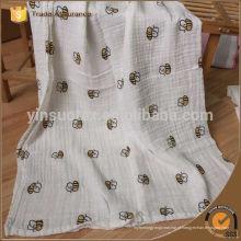 Melhor qualidade bebê musselina swaddle cobrir com design personalizado abelha