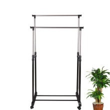 China Double Rod Rolling Clothes Horse Iron Rack