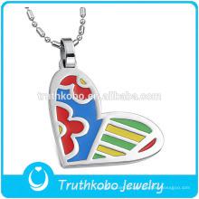 TKB-JP0168 Mujeres Especial Arte Diseño esmalte en forma de corazón joyería colgante de acero inoxidable
