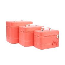 Косметический сумки сплошной Цвет Сумка красоты набор 3 шт ПУ