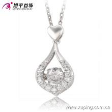 32542-moda el más nuevo Rhdium CZ diamante doble corazón joyería colgante collar para niñas 'regalos